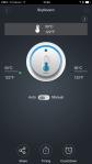 Appen viser temp og stilles inn for varme ELLER kjøling.