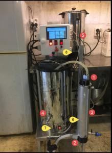HERMS og en rekke temperaturfølere som styres av Craftbeerpi.